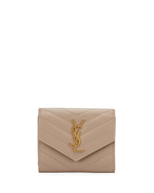 c78f38f9838b Saint Laurent Small YSL Monogram V-Flap Quilted Wallet