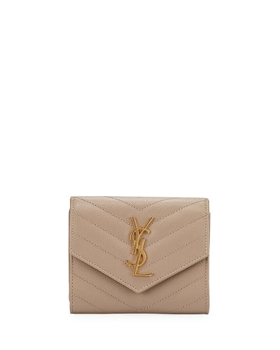 Small YSL Monogram V-Flap Quilted Wallet