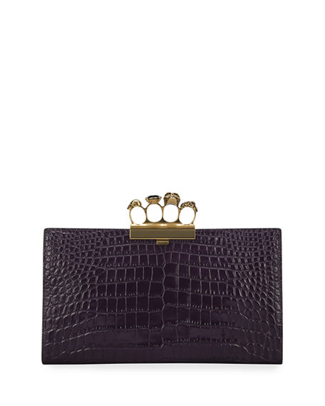 Alexander McQueen Four-Ring Stamped Crocodile Clutch Bag