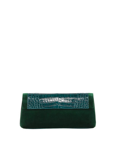 Gotham Crocodile & Velvet Clutch Bag