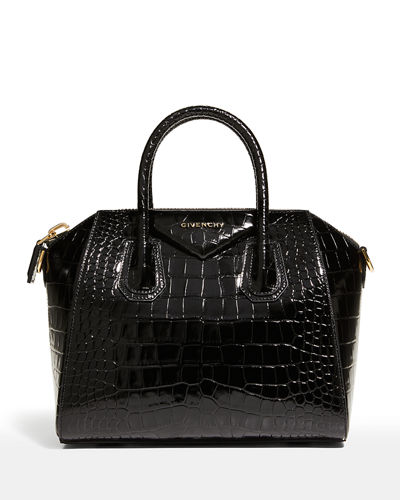 Antigona Small Croc-Embossed Satchel Bag