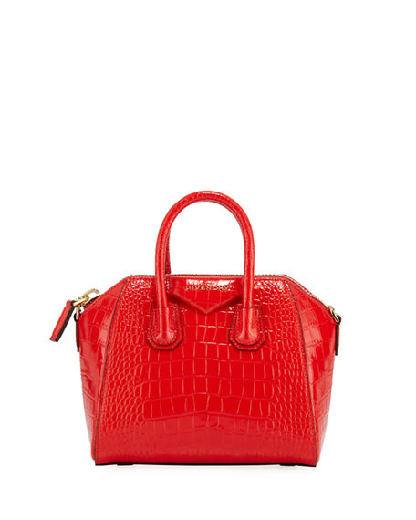 Givenchy Antigona Small Croc-Embossed Leather Bag