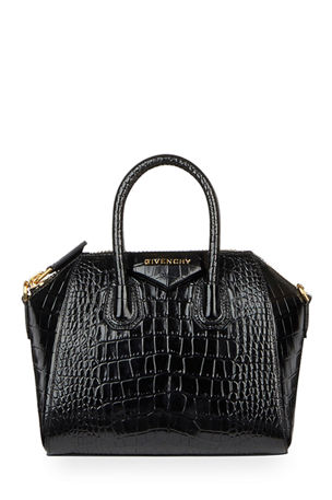 Givenchy Antigona Mini Croc-Embossed Satchel Bag