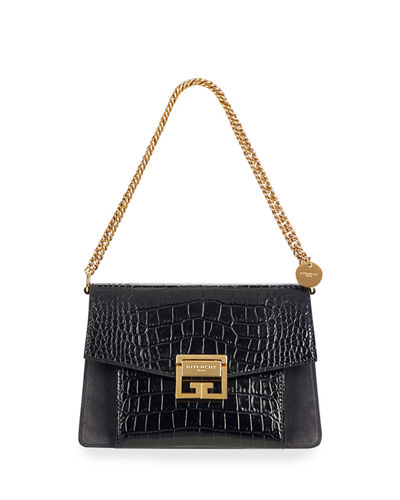 GV3 Small Croc-Embossed Leather Shoulder Bag