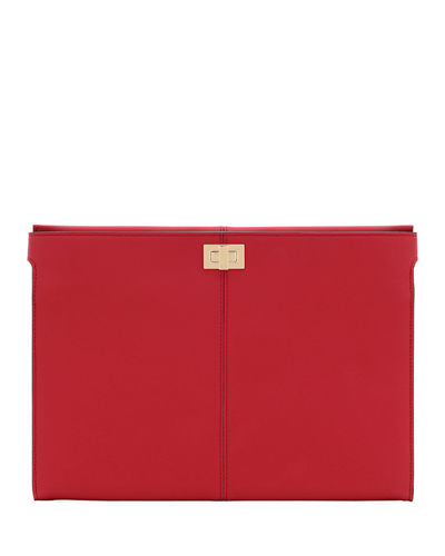 Grace Leather Turn-Lock Clutch Bag