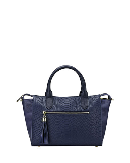 Gigi New York Personalized Grace Python-Print Satchel Bag