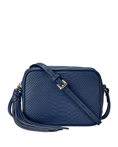 Madison Python-Embossed Leather Crossbody Bag