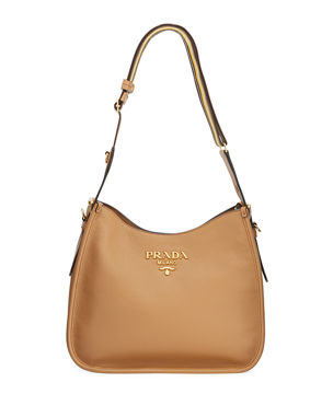 9b12bb67783821 Prada Daino Calf Leather Hobo Bag with Crossbody Strap