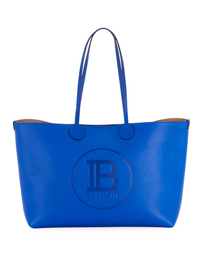 Small Calfskin Leather Shopping Tote Bag