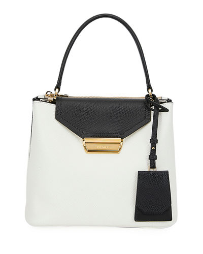 Two-Tone Top Handle Bag