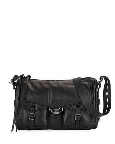 Field Puffer Leather Crossbody Messenger Bag