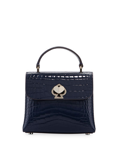 romy croc-embossed mini top-handle bag