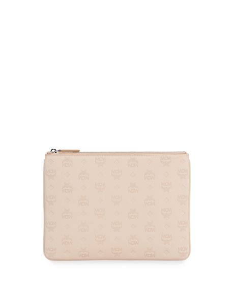 MCM Klara Medium Monogrammed Leather Clutch Bag