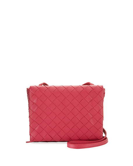 Bottega Veneta Intrecciato Leather Flap Wallet On Chain Crossbody