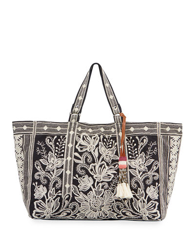 Jewel Embroidered Linen Tote Bag