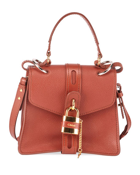 Image 1 of 4: Chloe Aby Mini Lock & Key Belted Top-Handle Bag