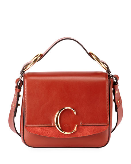Image 1 of 3: Chloe C Medium Shiny Box Shoulder Bag