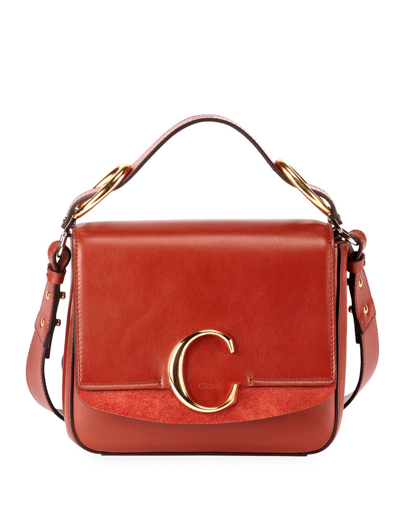 Chloe C Medium Shiny Box Shoulder Bag