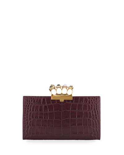 Jeweled Four-Ring Crocodile-Embossed Clutch Bag
