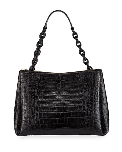 Large Chain Center Zip Shoulder Bag