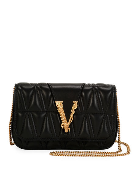 Image 1 of 5: Versace Quilted Napa Shoulder Bag