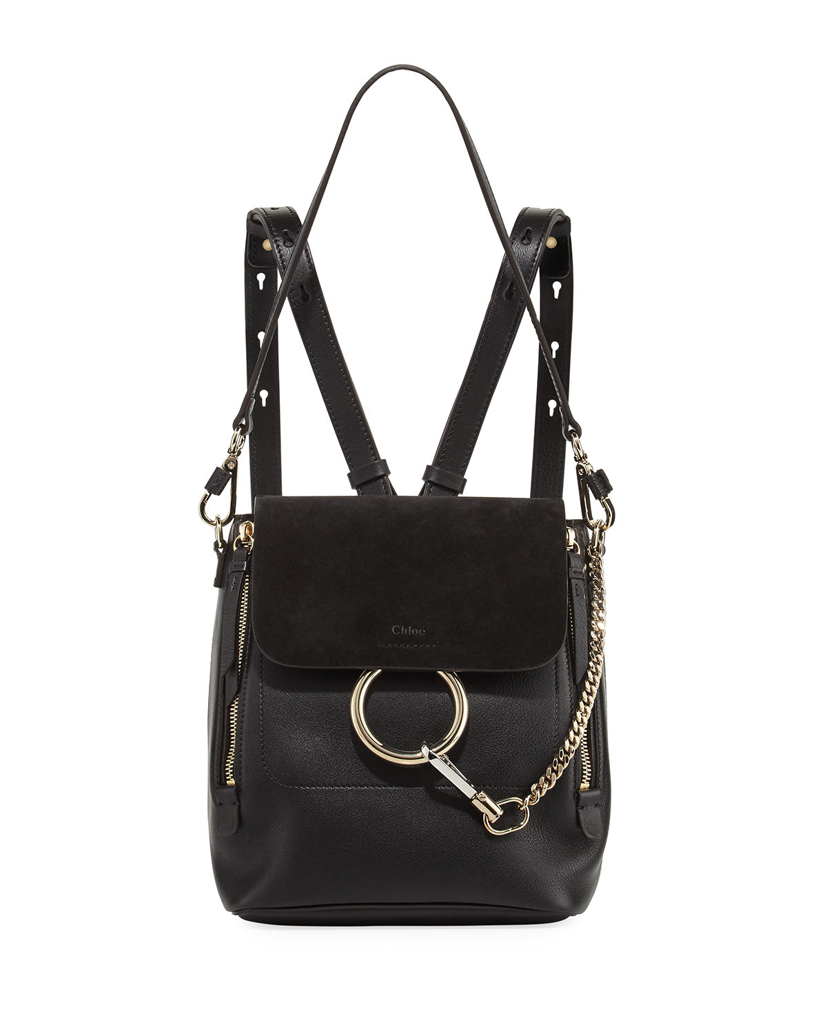 fcd17d9c Faye Small Leather/Suede Backpack in Black