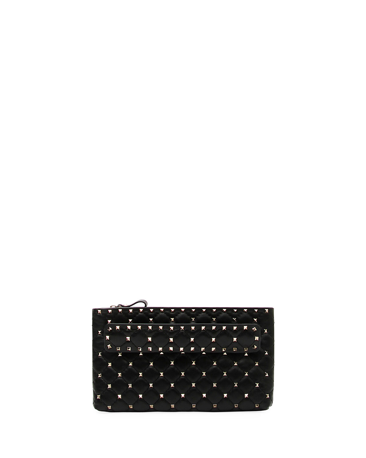 aa8f29076 Valentino Rockstud Spike Quilted Leather Clutch Bag In Black ...