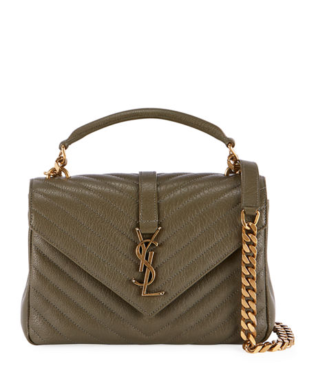 best cheap sale choose newest Small Ysl V-Flap Quilted Crossbody Bag in Green