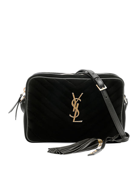 Saint Laurent Lou Medium YSL Monogram Quilted Velvet Crossbody Bag
