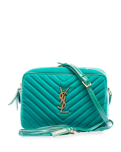 Lou Medium YSL Monogram Quilted Velvet Crossbody Bag