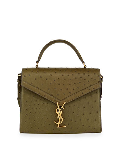 Saint Laurent Cassandra YSL Monogram Ostrich Top-Handle Bag