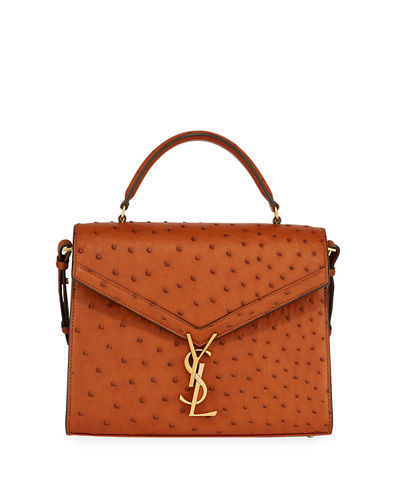 Cassandre YSL Monogram Ostrich Top-Handle Bag