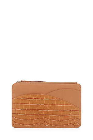 Chloe Walden Croc-Embossed Leather iPad Clutch Bag