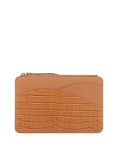 Walden Croc-Embossed Leather iPad Clutch Bag