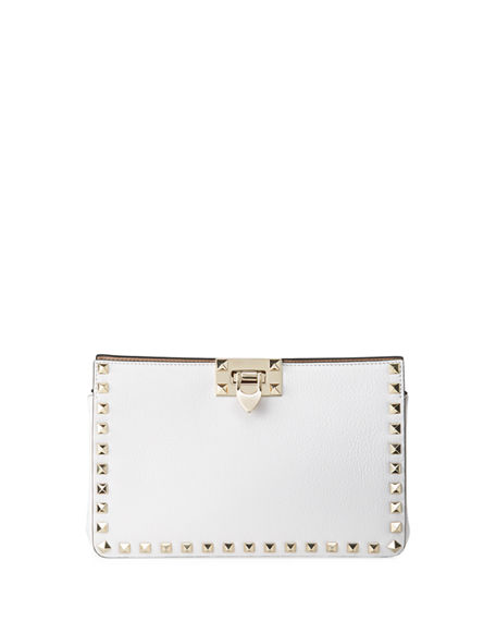 Valentino Garavani Rockstud Lux Buffalo Leather Clutch Bag
