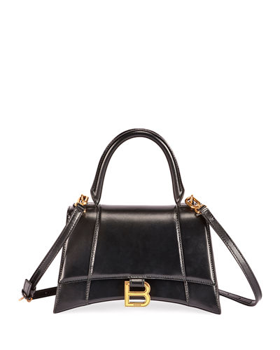 Hour Small Shiny Box Calf Top-Handle Bag
