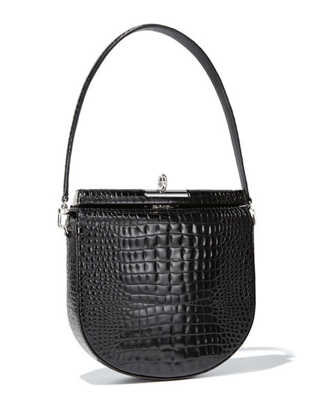 Gu_de Demilune Small Crocodile-Embossed Shoulder Bag
