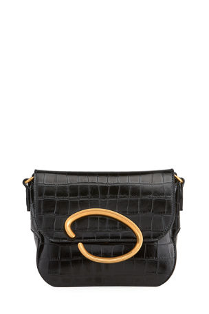 Oscar de la Renta Oath Mock-Croc Leather Shoulder Bag