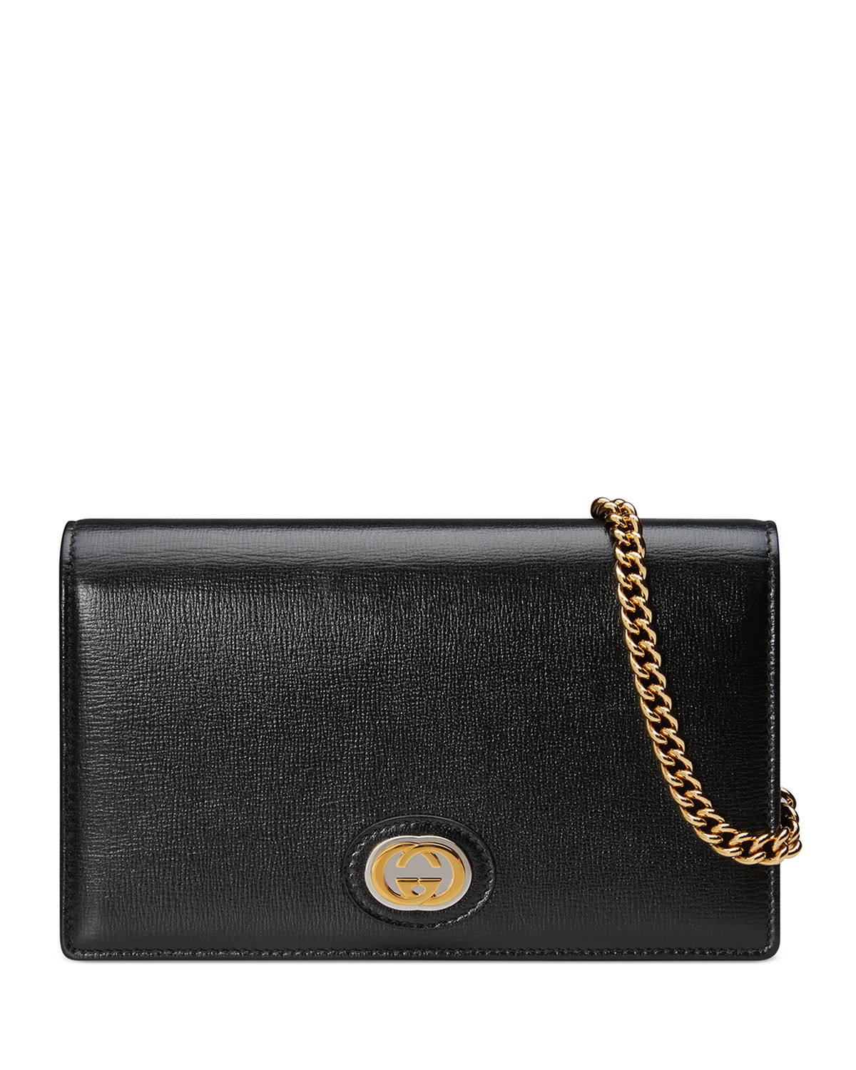 Gucci Cases MARINA LEATHER FLAP CARD CASE WALLET ON CHAIN