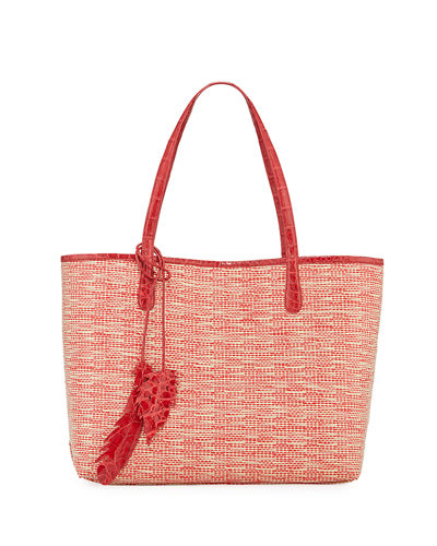 Nancy Gonzalez Erica Medium Raffia Leaf Tote Bag