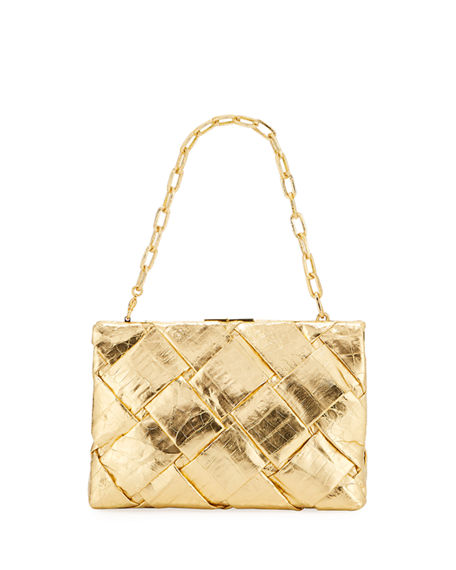 Nancy Gonzalez Small Woven Frame Clutch Bag