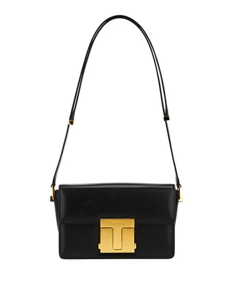 TOM FORD T-Clasp Shiny Leather Shoulder Bag