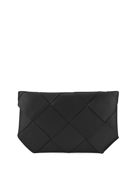 Image 1 of 4: Bottega Veneta Maxi Blown-Up Intrecciato Leather Pouch Bag