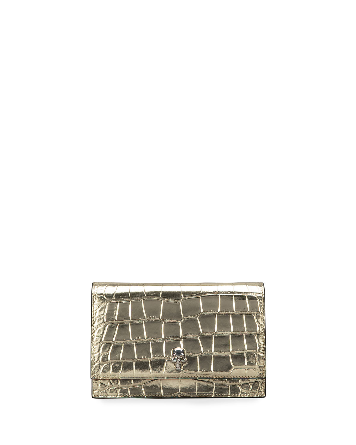 Alexander Mcqueen MINI CROC-EMBOSSED CROSSBODY BAG WITH SMALL SKULL