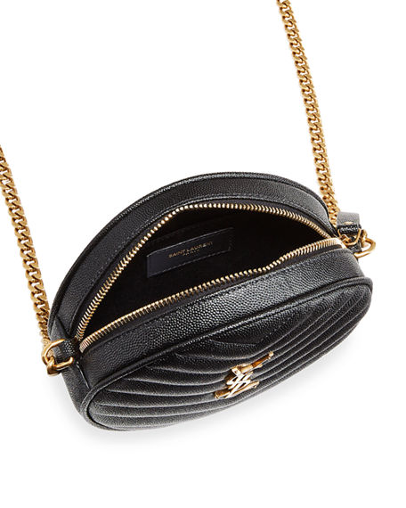 Image 3 of 4: Saint Laurent Jade YSL Round Quilted Grain de Poudre Crossbody Bag