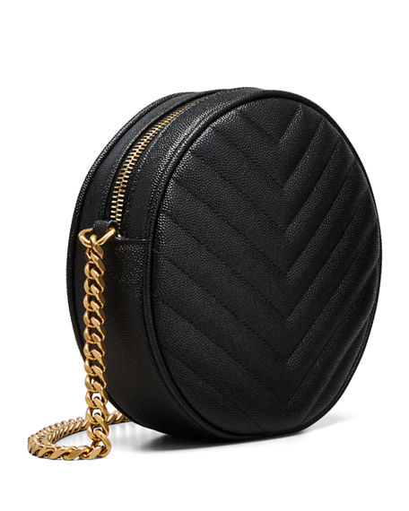 Image 4 of 4: Saint Laurent Jade YSL Round Quilted Grain de Poudre Crossbody Bag
