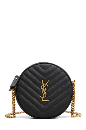 Saint Laurent Vinyle YSL Round Quilted Grain de Poudre Crossbody Bag