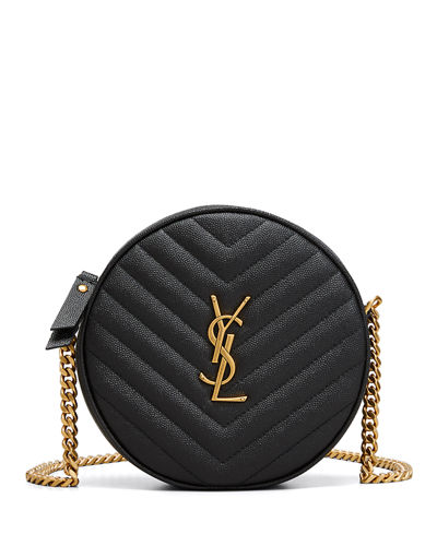 Jade YSL Round Quilted Grain de Poudre Crossbody Bag