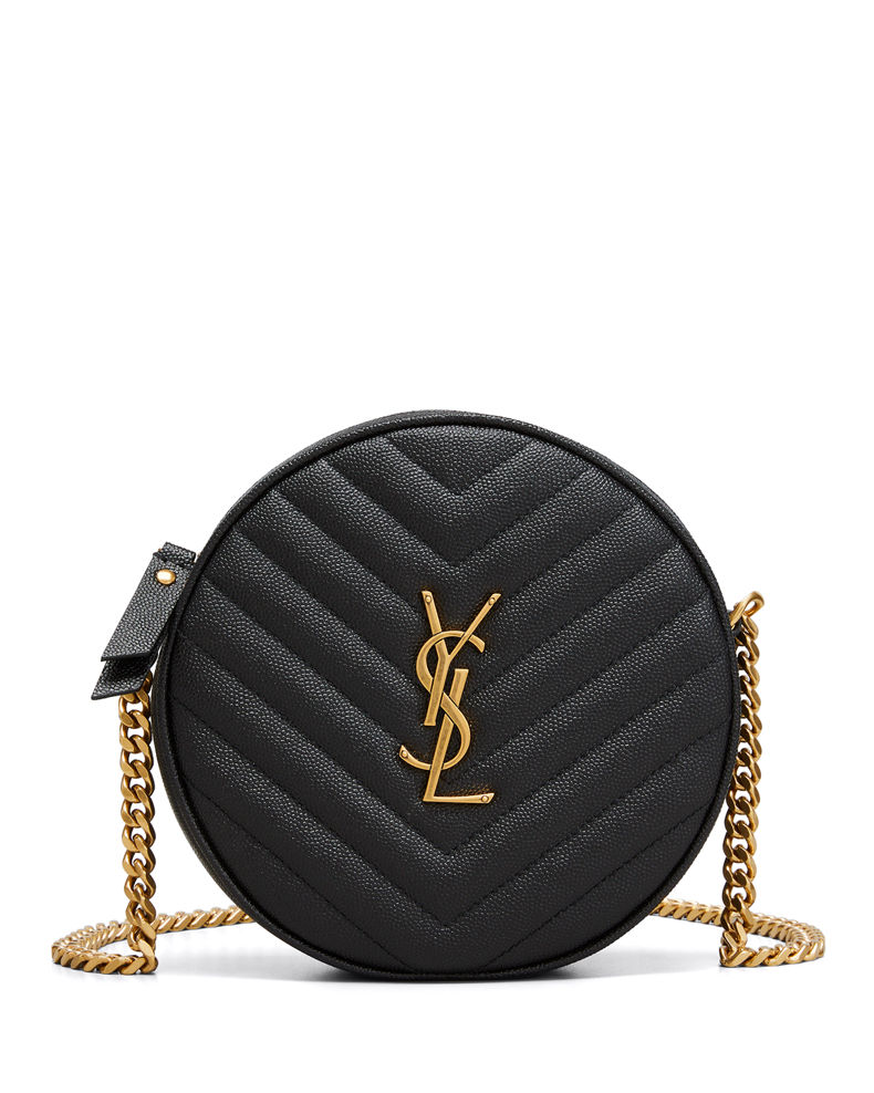 Saint Laurent Jade YSL Round Quilted Grain de Poudre Crossbody Bag