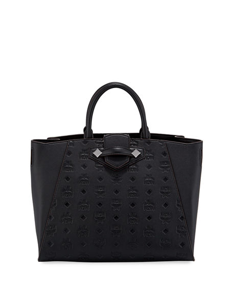 MCM Essential Medium Monogrammed Leather Tote Bag